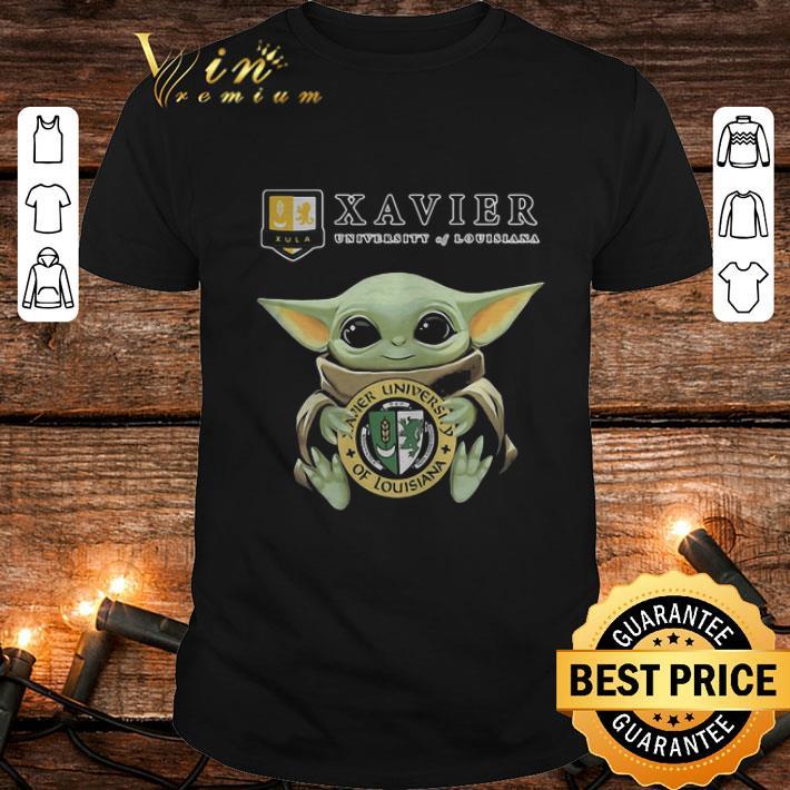 Baby Yoda Hug Xavier University Of Louisiana Logo Star Wars shirt