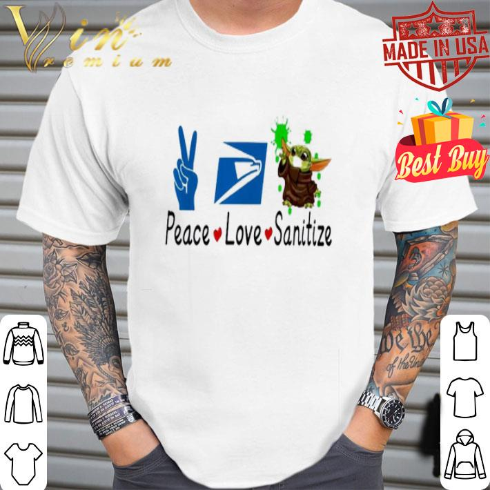 Baby Yoda Peace Love Sanitize United States Postal Service shirt