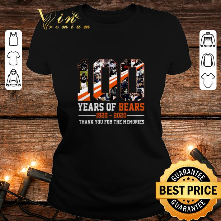 Chicago Bears 100 Years Of Bears 1920-2020 thank you for the memories shirt