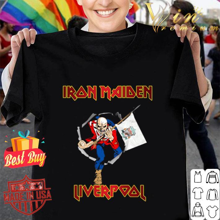 Iron Maiden hold Liverpool flag shirt