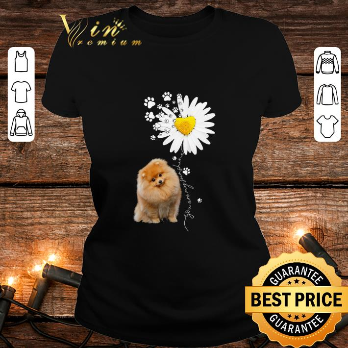 Paw Pomeranian Daisy flower you are my sunshine shirt 2