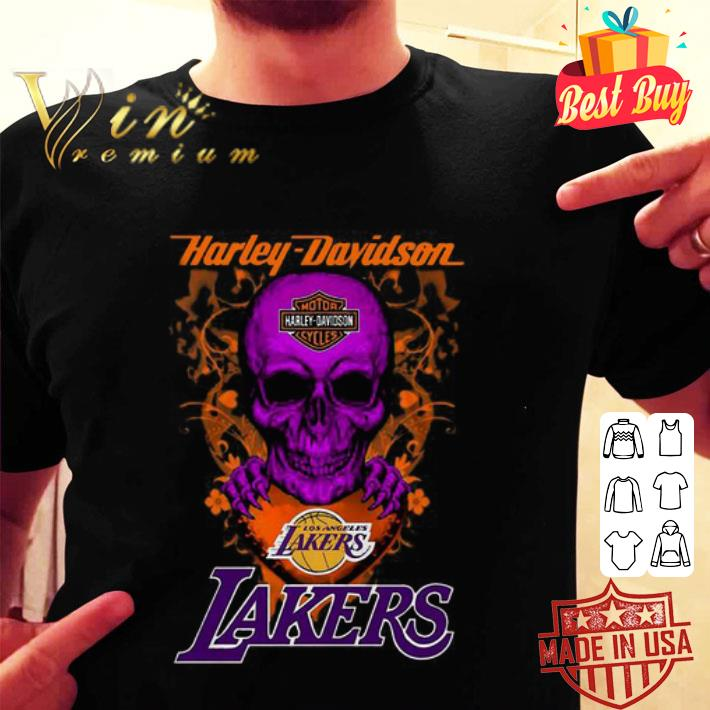 Skull mashup Harley Davidson and Los Angeles Lakers shirt