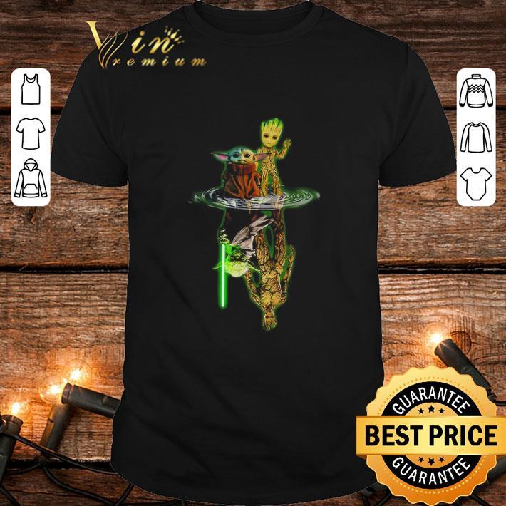 Star Wars Baby Yoda and Baby Groot water mirror reflection shirt