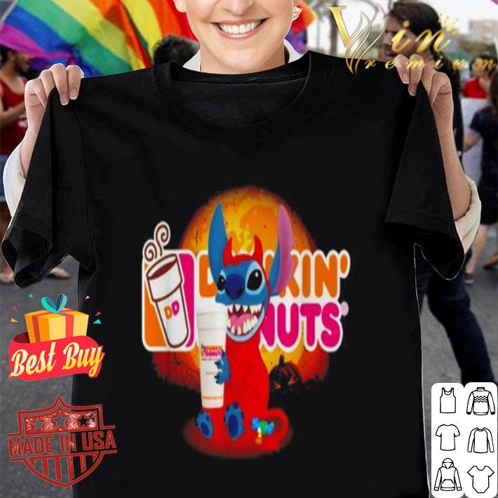 Stitch hug Dunkin' Donuts logo shirt