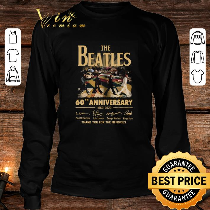 The Beatles 60th anniversary 1960 2020 thank you for the memories signatures shirt 3