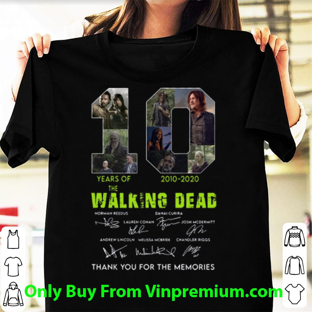 10 Years Of The Walking Dead Thank You For The Memories Signatures Shirt 1