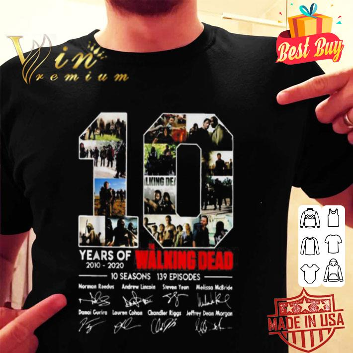 10 years of The Walking Dead 2010 2020 10 seasons 139 episodes signatures shirt